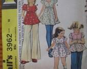 Vintage 1974 McCalls Pattern Girl Dress Top Pants Size 10 UNCUT