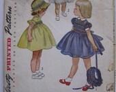 Vintage Simplicity Pattern Girl Child's Dress and Bonnet Size 5