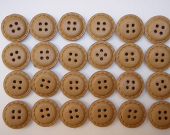 24 Leather Buttons Natural 21mm Vintage 1950s