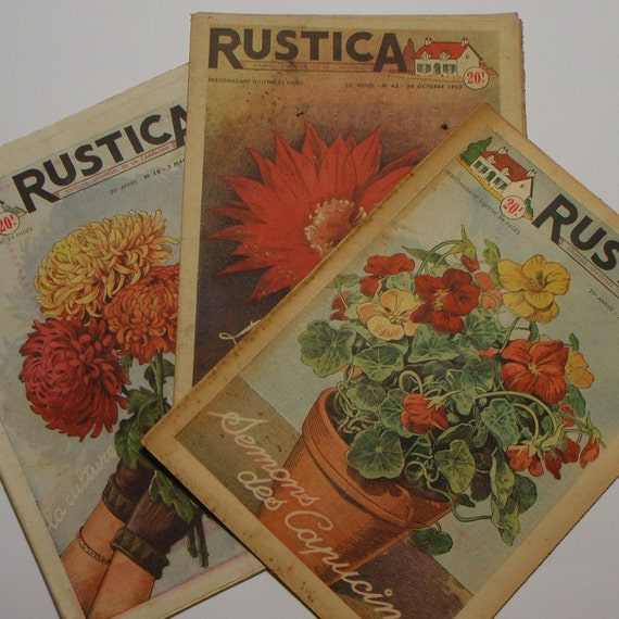 3 GARDENING and FARMING  MAGAZINES Vintage French