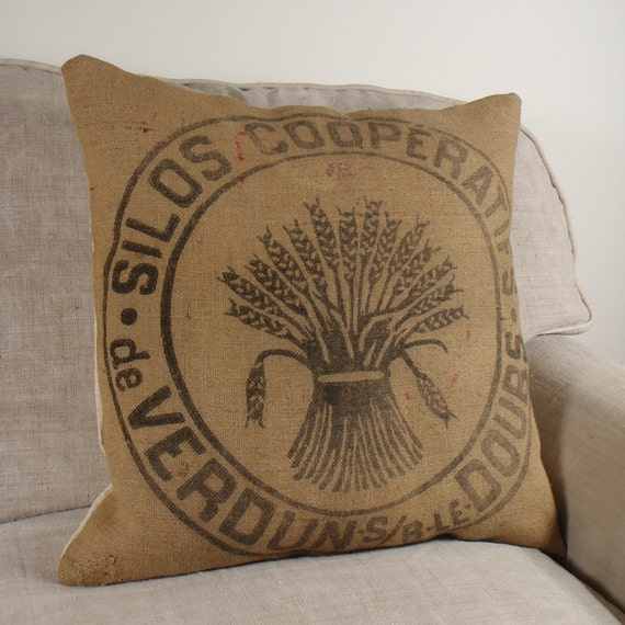 Burlap Pillow Cover made from Vintage French Grain Sack