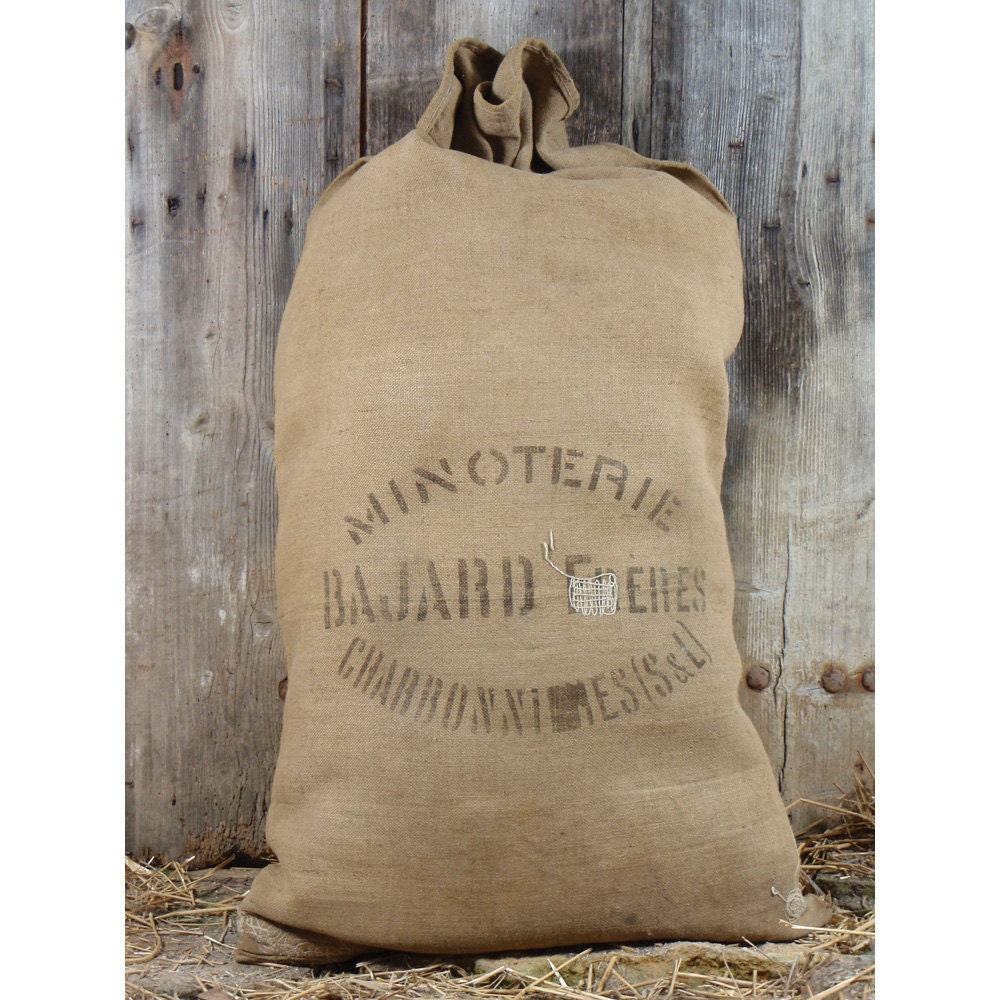 Grain Sack Burlap Flour Bag Vintage French By
