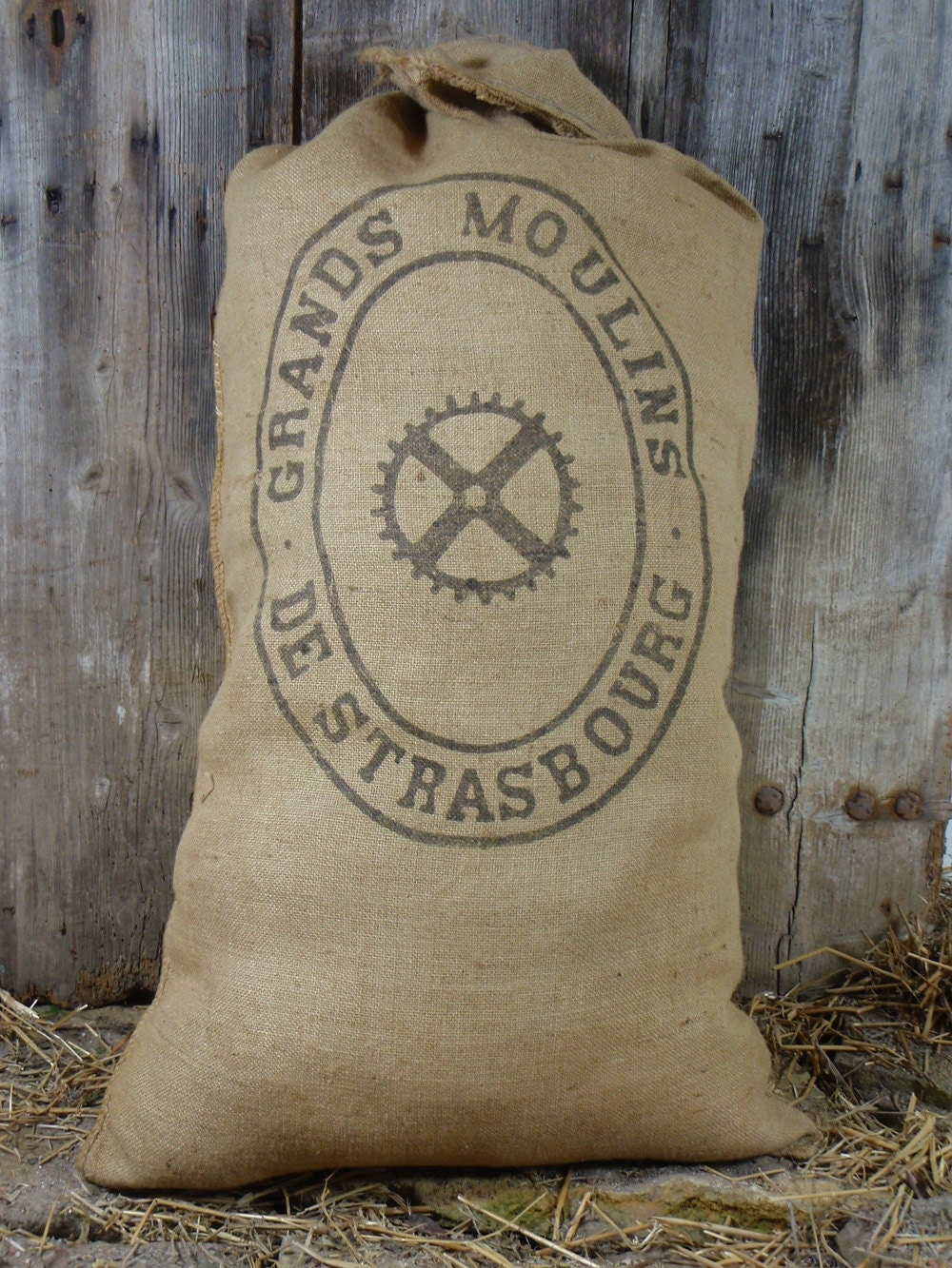 Vintage French Flour Sack Feed Bag Burlap Jute Black Printed