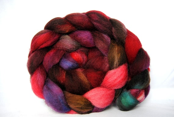RIPPED AND TORN Hand-Dyed Cheviot Combed Top/Roving-4 ounces