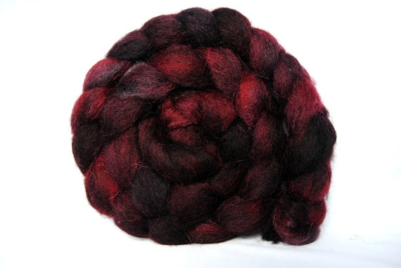 WINEHOUSE Hand-Dyed Grey Masham Combed Top/Roving-4 ounces
