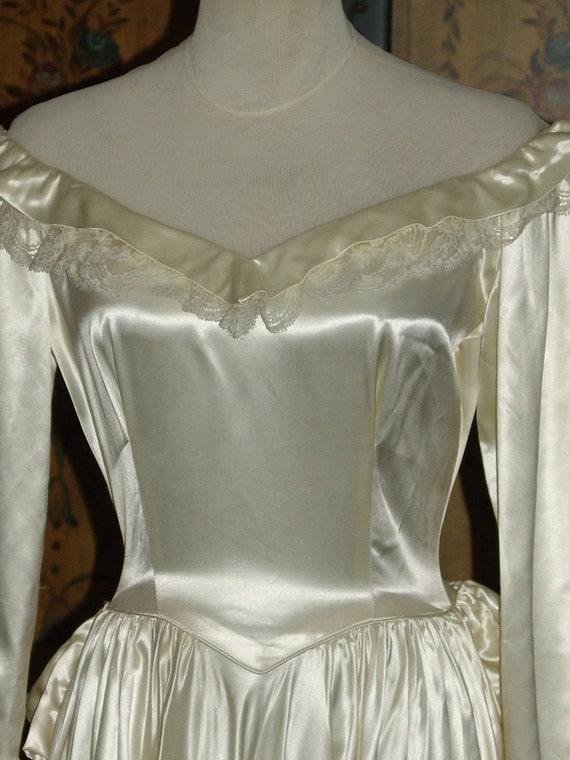 Vintage 1940s  Ivory Liquid Satin Portrait Collar Bustle Train Wedding Dress S M