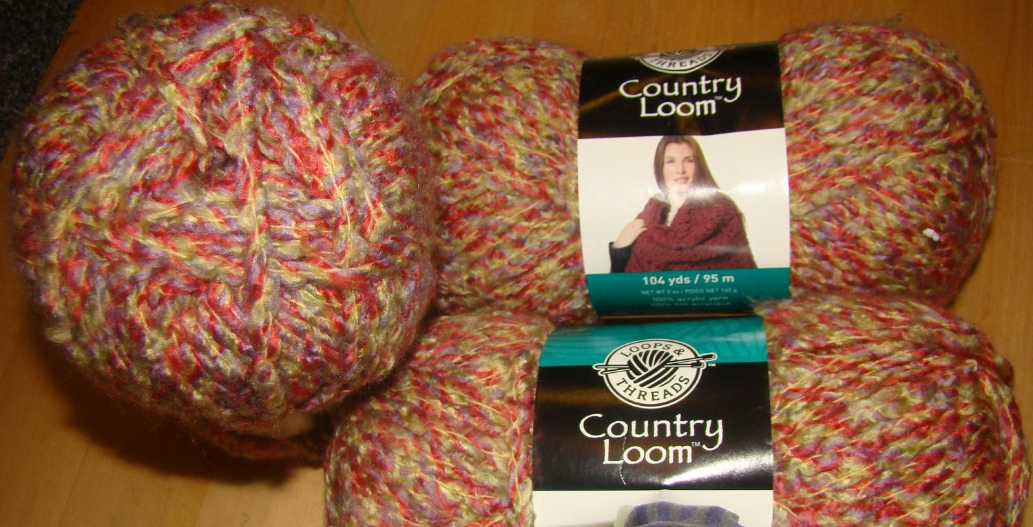 3 Skeins Loops & Threads Country Loom Yarn for Crochet and