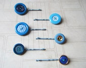 Bobby Pins in Blue - Vintage buttons - Upcycled Set of 6