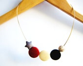 Necklace Beads Brown - Moons, Planet and Star