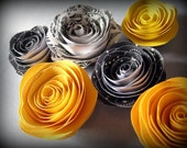 Paper Rose Magnets Yellow Black White - Robot in Bloom