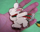 RESERVED // white bunny wearing scarf  ice skating vintage Hallmark Christmas tree ornament