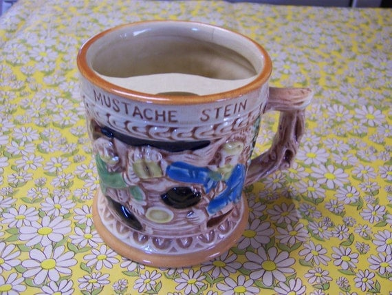 MUSTACHE STEIN - vintage beer mug keeps your moustache dry