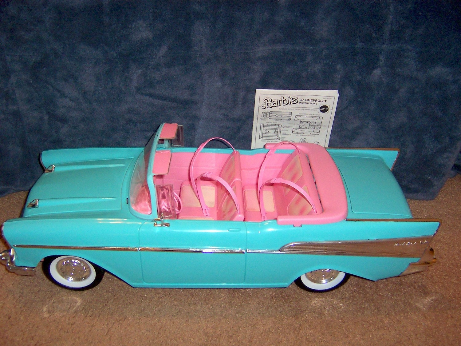 Perry Chevrolet Mattel 1988 Barbie '57 Chevy convertible car complete