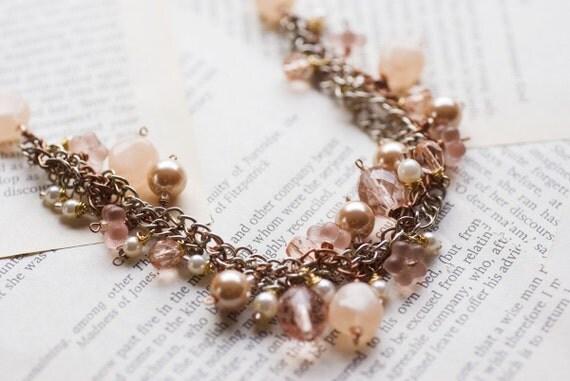 Chunky peach flower necklace