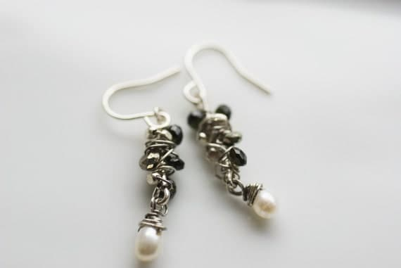 Earrings - freshwater pearls, black tourmaline, African trading beads and & sterling silver