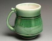 White stoneware jade green coffee mug or tea cup - 303