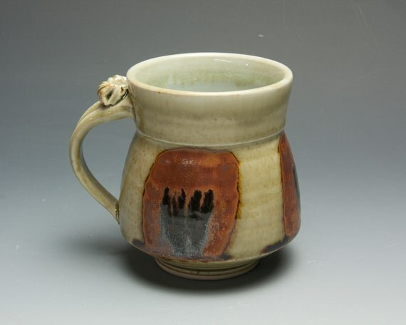 Sale - Coffee mug or tea cup - porcelain mug with transparent celedon glaze with thumb rest 114
