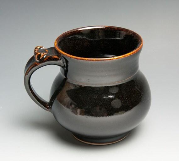 Coffee or tea cup - porcelain mug with temmoku glaze - 375