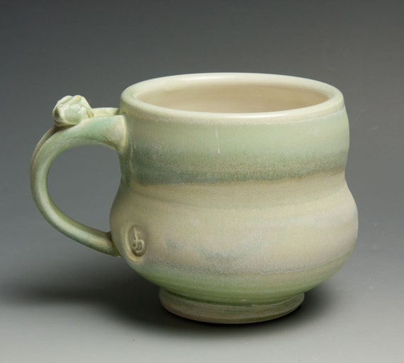 Porcelain coffee mug or tea cup with soft mint glaze- 426