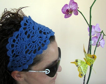 Summer Fashion Accessories - hand crochet headband in DENIM BLUE