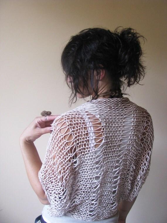 Nude Beige Ivory Soft Eco Linnen Cotton Elegant Summer Shrug