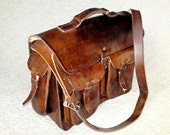 Large Brown Vegetable Tanned Cowhide Leather / Messenger Laptop Briefcase Cross-Body Satchel Bag - BBXO4C