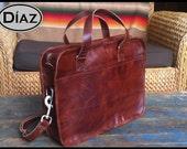 DIAZ Medium Leather Briefcase Portfolio / Bag  in Antique Tanned Brown - (15in MacBook Pro) - Free Monograming  -