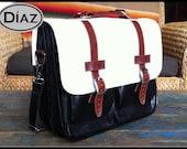 DIAZ Mini Geunine Leather Briefcase / Backpack Laptop Messenger  Bag Satchel in White / Brown / Black - (11in MacBook Air)