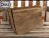 "DIAZ Small Genuine Leather Messenger Bag / Satchel in Texas Dark Brown - Fits 13"" MacBook Pro / Air"