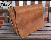 DIAZ Medium Genuine Leather Messenger Bag / Cross-body / Shoulder Leather Satchel in Texas Light Brown