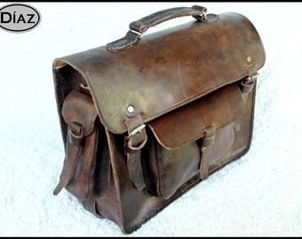 Dark Brown Rawhide Leather Messenger Laptop Satchel Bag -Free Shipping- BBXO3C