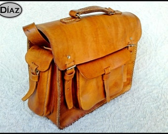 Light Brown Vegetable Tanned Leather Messenger Laptop Briefcase Satchel Bag BBO3G