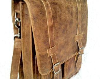 DIAZ Large Genuine Leather Messenger Satchel / Backpack Laptop Bag in Texas Light Brown - (17in MacBook Pro)