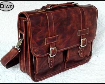 DIAZ Small Geunine Leather Messenger Briefcase / Backpack Laptop Bag Dark Brown - (13in MacBook Pro)