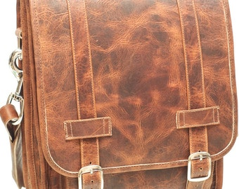 Small Leather Messenger Satchel / Backpack Laptop Bag Crazy Horse Dark Brown - (13in MacBook Pro / Air) - Free Shipping -