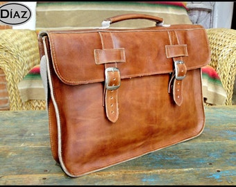 DIAZ Mini Leather Bag / Briefcase in Crazy Horse Tanned Brown - (Fits 11in MacBook Air) - Free Monograming  -