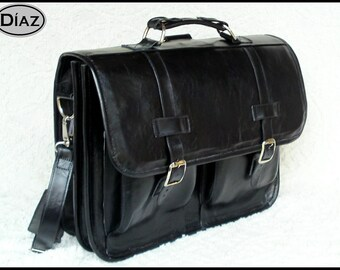 DIAZ Small Leather Messenger Briefcase / Backpack Laptop Bag Satchel in Florencia Black - (13in MacBook Pro / Air)