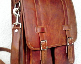 DIAZ Medium Genuine Leather Messenger Satchel / Backpack Laptop Bag in Crazy Horse Tanned Brown - (15in MacBook Pro)