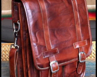 DIAZ Large Geunine Leather Satchel / Backpack Laptop Messenger Bag in Antique Light Brown - (17in MacBook Pro)