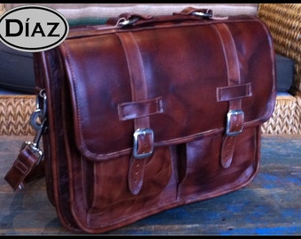 DIAZ Large Geunine Leather Briefcase / Backpack Laptop Messenger Bag Satchel in Antique Light Brown - (17in MacBook Pro)