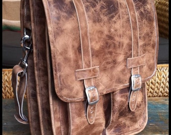 Large Geunine Leather Messenger Satchel / Backpack Laptop Bag in Crazy Horse Natural Brown - (17in MacBook Pro)