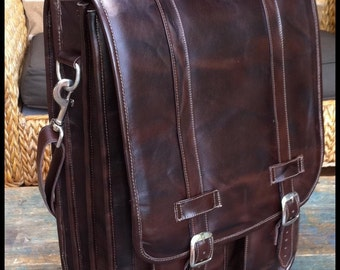 DIAZ Extra Large Geunine Leather Messenger Satchel / Backpack Laptop Bag in Antique Dark Brown