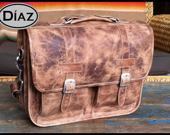 Small Leather Messenger Briefcase / Backpack Laptop Bag Satchel in Crazy Horse Natural Brown - (13in MacBook Pro / Air) - Free Shipping -