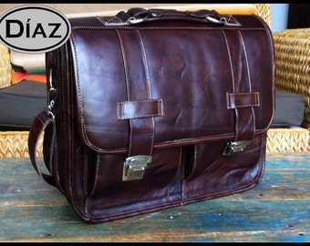 Large Leather Messenger Briefcase / Backpack Laptop Bag Antique Dark Brown - (17in MacBook Pro)