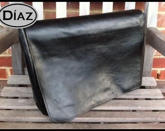DIAZ Small Genuine Leather Messenger Bag / Satchel in Florencia Black - Free Monogramming -