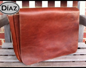 DIAZ Large Genuine Leather Messenger Bag / Satchel in Florencia Tanned Brown - Free Monogramming -