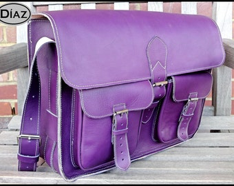 DIAZ Large Genuine Leather Cross Body / Shoulder Messenger Bag / Satchel in Purple