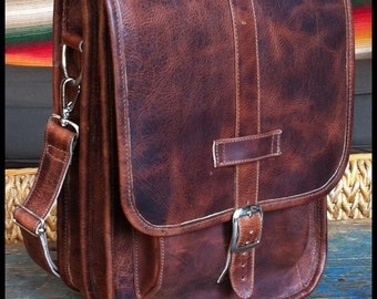 Small Leather Messenger Satchel / Backpack Laptop Bag Crazy Horse Dark Brown - (13in MacBook Pro / Air)