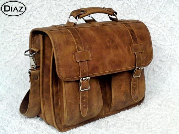 Large Geunine Leather Messenger Briefcase / Backpack Laptop Bag Texas Light Brown - (17in MacBook Pro)