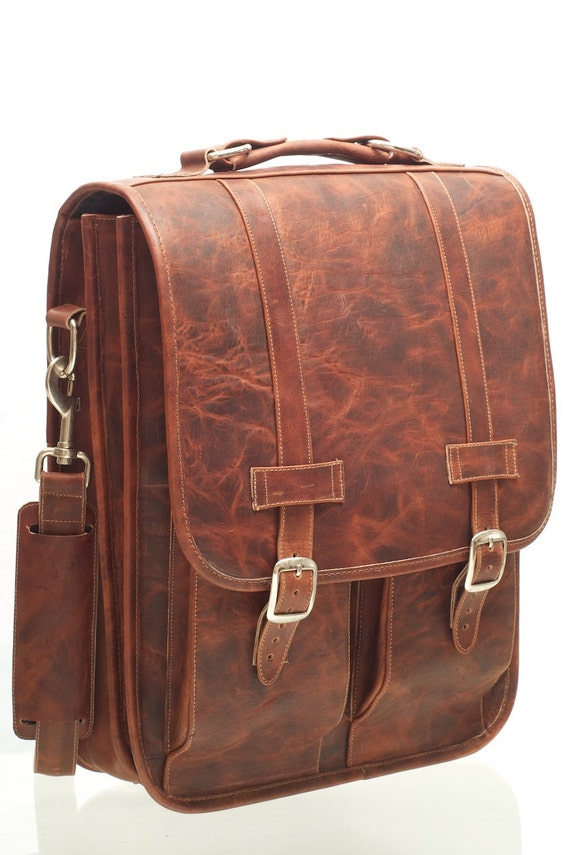 SALE 30% OFF + Free Shipping, Black Friday, Cyber Monday, Christmas, Leather Satchel Backpack Briefcase Crazy Horse Brown, 15in MacBook Pro